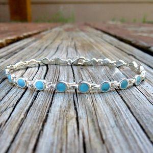 Vintage Navajo 925 Natural Turquoise Link Bracelet